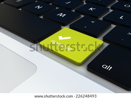 approve concept: approve button on keyboard - stock photo