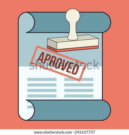 Approved Contract Flat Line Icon - stock photo