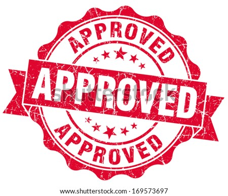 approved grunge red stamp - stock photo