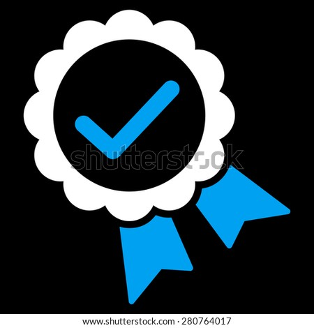 Approved icon from Competition & Success Bicolor Icon Set on a black background. This isolated flat symbol uses light blue and white colors. - stock photo