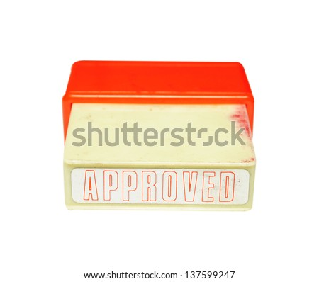 Approved stamp isolated on white background - stock photo