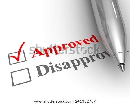 Approved status. Pen on evaluation form, with approved checked. - stock photo