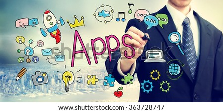 Apps concept with businessman above the city - stock photo