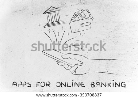 apps for online banking: hand holding smartphone with bank and wallet icons coming out of the screen - stock photo