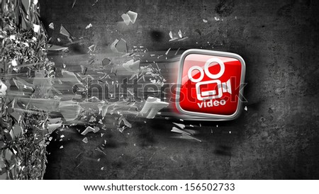 APPS icon breaks glass. High resolution 3d render  - stock photo