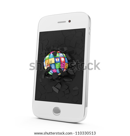 APPS Sphere Broken Smart Phone Display. Mobile APPS Concept - stock photo