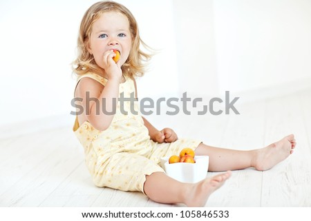 Apricot fruit - a small child nutrition - stock photo