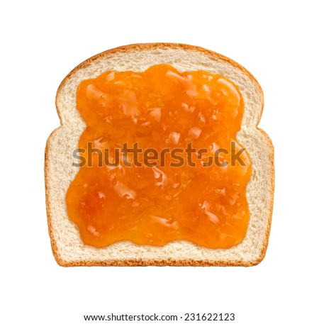 Apricot Preserves on a Single Slice of white bread isolated on a white background. - stock photo