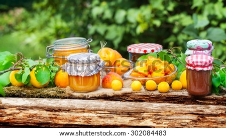 Apricots, Mirabelle, jam - stock photo