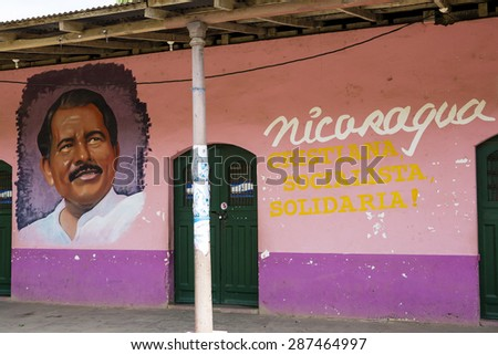 April 26 2015, Belen, Nicaragua: the portrait of the president of the country, Daniel Ortega is displayed in public places regularly  - stock photo
