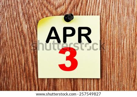 April 3 Calendar. Part of a set - stock photo