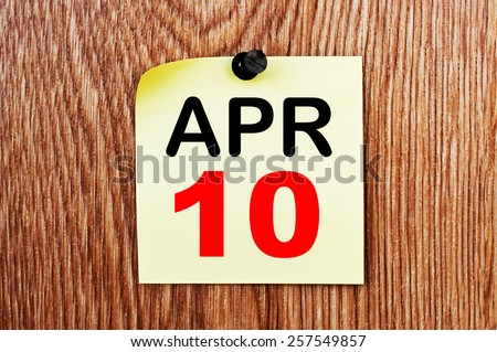 April 10 Calendar. Part of a set - stock photo