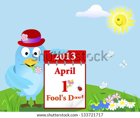 April Fool's Day. Blue Bird in the hat with the calendar against the sky with a smiling sun. Raster version. - stock photo