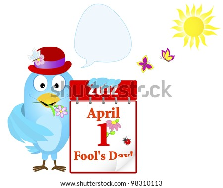 April fools' day. Blue Bird in a hat with a calendar and speech bubble against sun and butterflies. Raster version. - stock photo