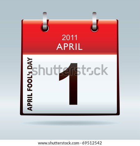 April fools day calendar icon with red banner and drop shadow background - stock photo