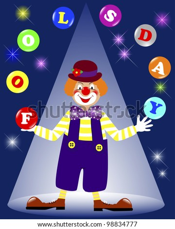 April fools' day. Cute a clown juggling balls on a dark background with glowing lights. Raster version. - stock photo