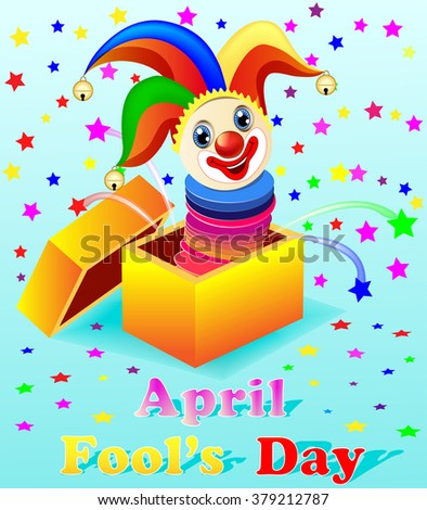 April Fools Day illustration with a cheerful clown out of the box - stock photo