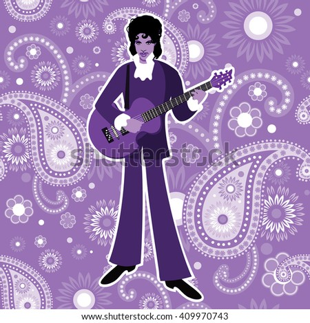 APRIL 23, 2016: Illustrative editorial drawing of musical artist Prince.  - stock photo