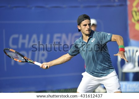 April 02, 2016: Professional tennis player Thomas Fabbiano in action at the ????-final match during the ATP Challenger Tour 2016 at Raanana - stock photo