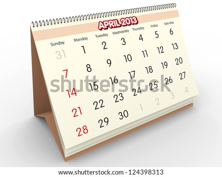 April sheet in a Calendar for 2013. 3d render - stock photo