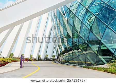 April 6, 2014  Singapore. building in the park Gardens by the Bay, Singapore. - stock photo