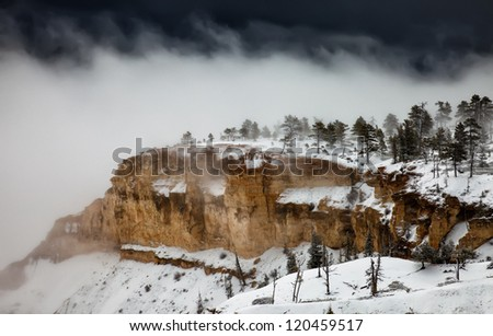 April snow in Bryce Canyon National Park, Utah - stock photo