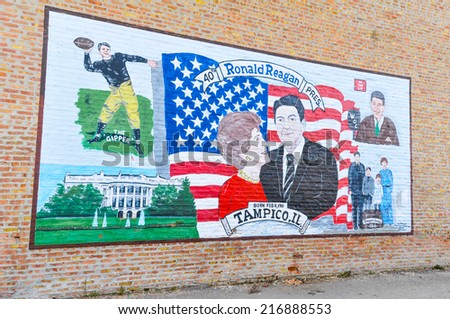 APRIL 23, 2009 - TAMPICO, IL:President Ronald Reagan mural in his hometown of Tampico, Illinois - stock photo