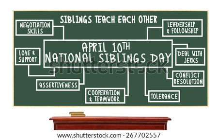 April 10th National Siblings Day chalk board: Siblings Teach, Cooperation, Teamwork, Tolerance, Love, Support, Conflict Resolution, Leadership Followship, Deal with Jerks - stock photo