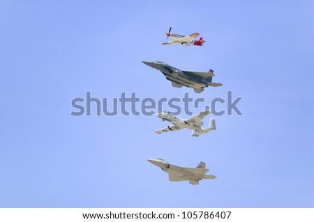 APRIL 2007 - United States Air Force on its 50th anniversary featuring heritage flight with four vintage planes,  at Ventura County Air Show at Point Mugu, Ventura County, Southern California. - stock photo