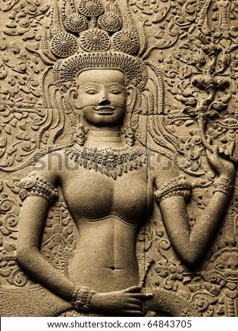 Apsara Smile on a stone - stock photo