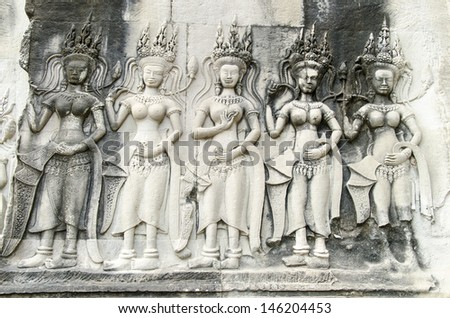 Apsaras - khmer stone carving in Angkor Wat, Cambodia - stock photo