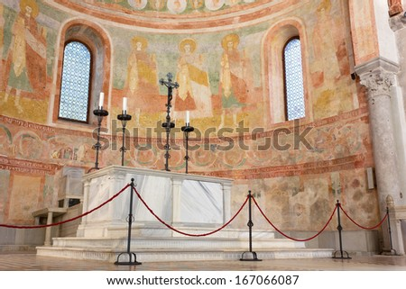 Apse and Altar in the Basilica of Aquileia, Italy - stock photo