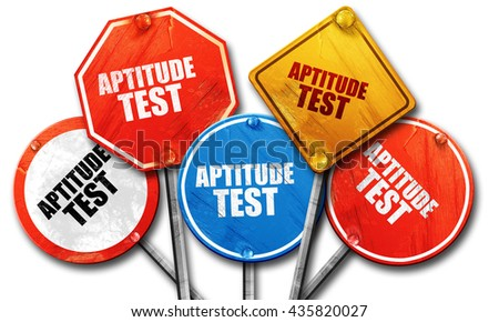 aptitude test, 3D rendering, rough street sign collection - stock photo