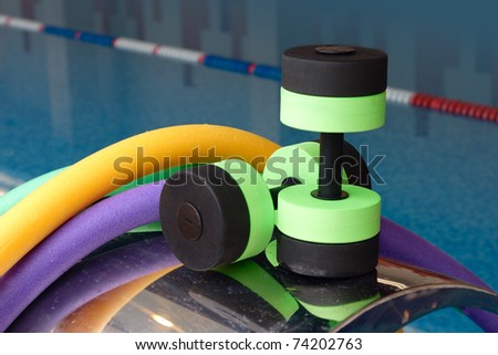 Aqua Aerobics equipment, Dumbbells noodles. Water Aerobics. - stock photo