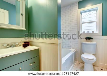 Aqua and white small bathroom decorated with sea star and wood flower pot. - stock photo