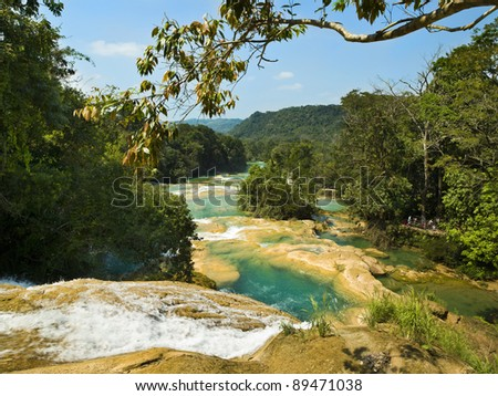 Aqua Azul waterfall - stock photo