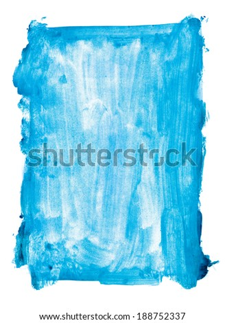 Aqua blue watercolor background. Isolated over white - stock photo