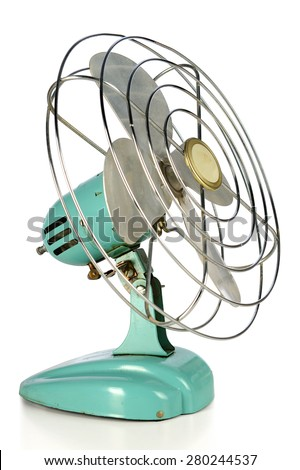 Aqua green vintage fan isolated over white background - stock photo