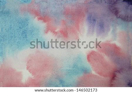 aqua magenta watercolor background - stock photo