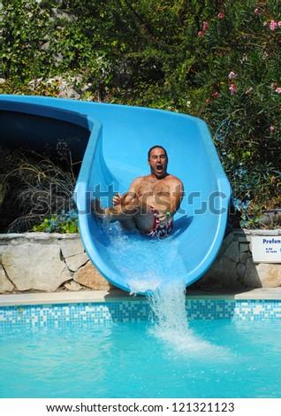 aqua park - stock photo
