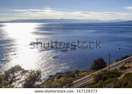 Aquaculture farms in northern Greece - stock photo