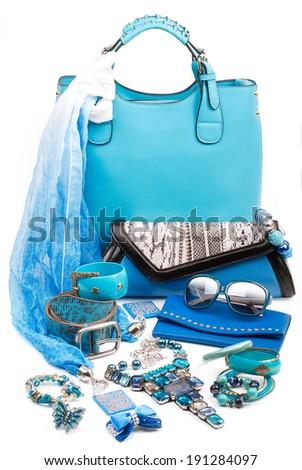 aquamarine fashion accessories - stock photo