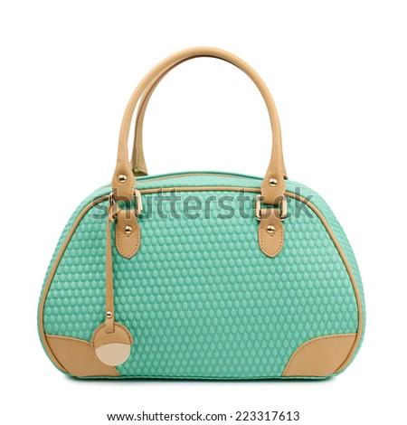 Aquamarine female bag isolated on white background. - stock photo