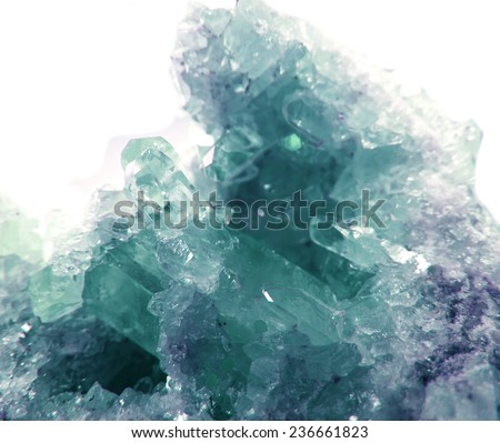 aquamarine semigem geode crystals geological mineral isolated  - stock photo