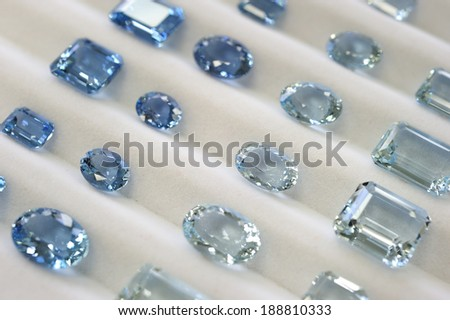 Aquamarine, touquoise blue color gemstone, Brazil is the number 1 producer of the stone. - stock photo