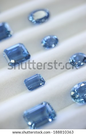 Aquamarine, turquoises blue color gemstone, Brazil is the number 1 producer of the stone. - stock photo