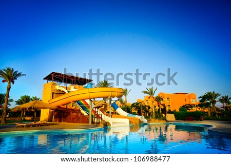 Aquapark in the exotic resort. Egypt. - stock photo