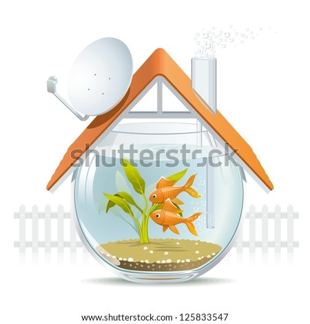Aquarium home. Illustration of a comfortable house in a aquarium with a nice white picket fence. - stock photo