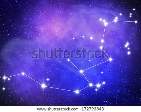Aquarius Zodiac sign bright stars in cosmos - stock photo