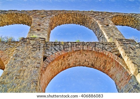 aqueduct from below - illustration based on own photo image - stock photo